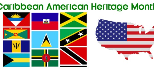 flags of the caribbean and the US for caribbean american heritage month