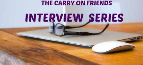 carry on friends interview series with macbook glasses and desk