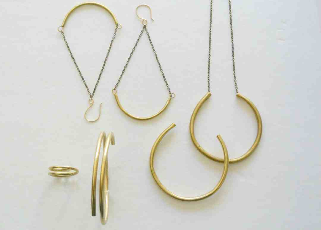 The Pink Locket Gold Bangle Geometric Jewelry