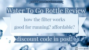 water to go review cover blue and pale blue words over image of water, water to go bottle review how the filter works good for running affordable
