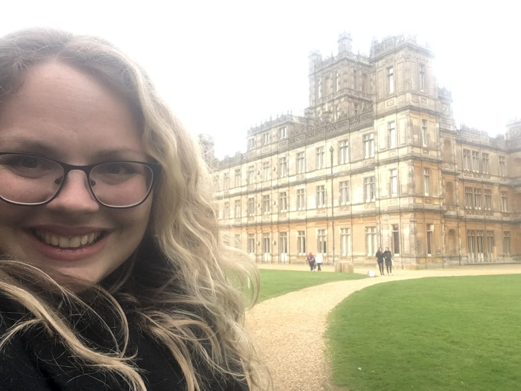 selfie at highclere castle, filming location for downton abbey