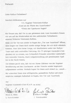Vorwort der Vorsitzenden des Hagener Automobil-Clubs