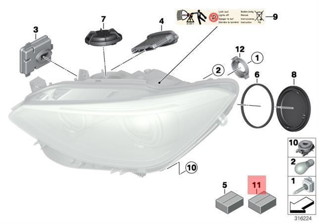 Genuine Bmw F07 F10 F11 F18 F20 F21 Headlight Repair Kit
