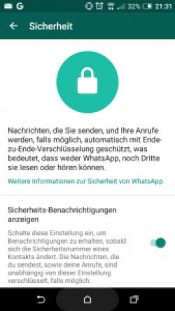 Sicherheitseinstellung unter WhatsApp