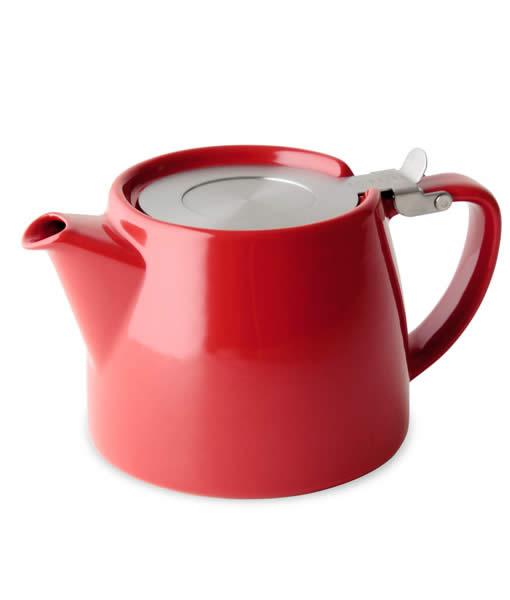 Stump tea pot, red
