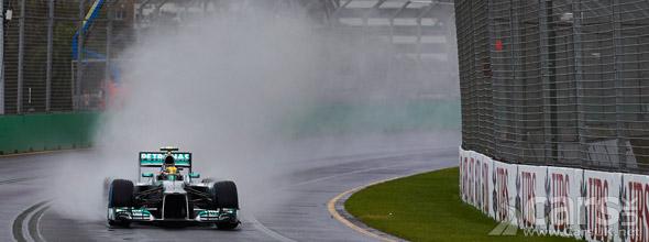 Photo of Mercedes F1 car in rain at Australian F1 GP qualifying 2013