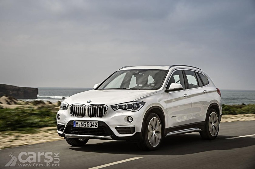 new BMW X1 in white on road view from front
