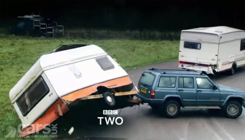 Top Gear SUV Caravan on trailer for final missing episode