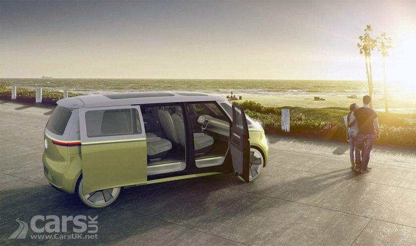 Volkswagen I.D. Buzz Electric Microbus Concept Doors Open Side View