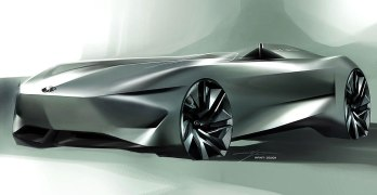 Infiniti Project 10 ELECTRIC Speedster previewed with design sketch