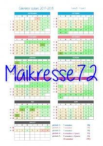 Calendrier scolaire 2017-2018 - 4 jours