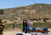 Bomberos y Policía Local intervienen en el incendio del barranco de Orfeo