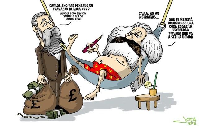 Marx y Engels - caricaturas