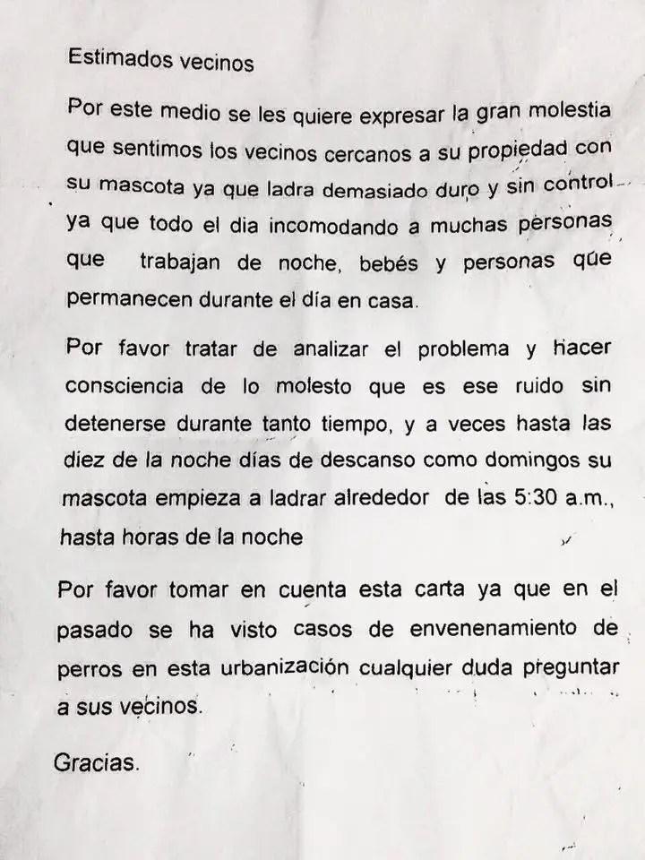Carta anónima que se dejó en una casa de habitación del Residencial Doña Flora.