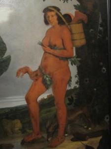 Mulher tapuia retratada por Eckhout como selvagem, carregando parte de corpos