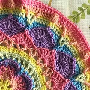 crocheted rainbow mandala