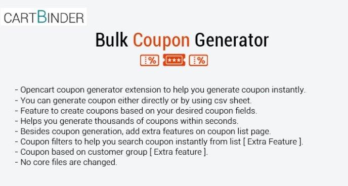 opencart coupon code generator extension
