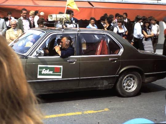 """1980 """"Dente"""" als Sprecher beim Corso """"50 Jahre Stadt Ferlach"""""""