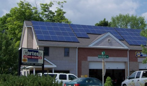 Carter's Auto Service showing solar installation