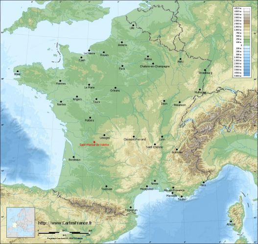 Carte du relief de Saint-Martial-de-Valette