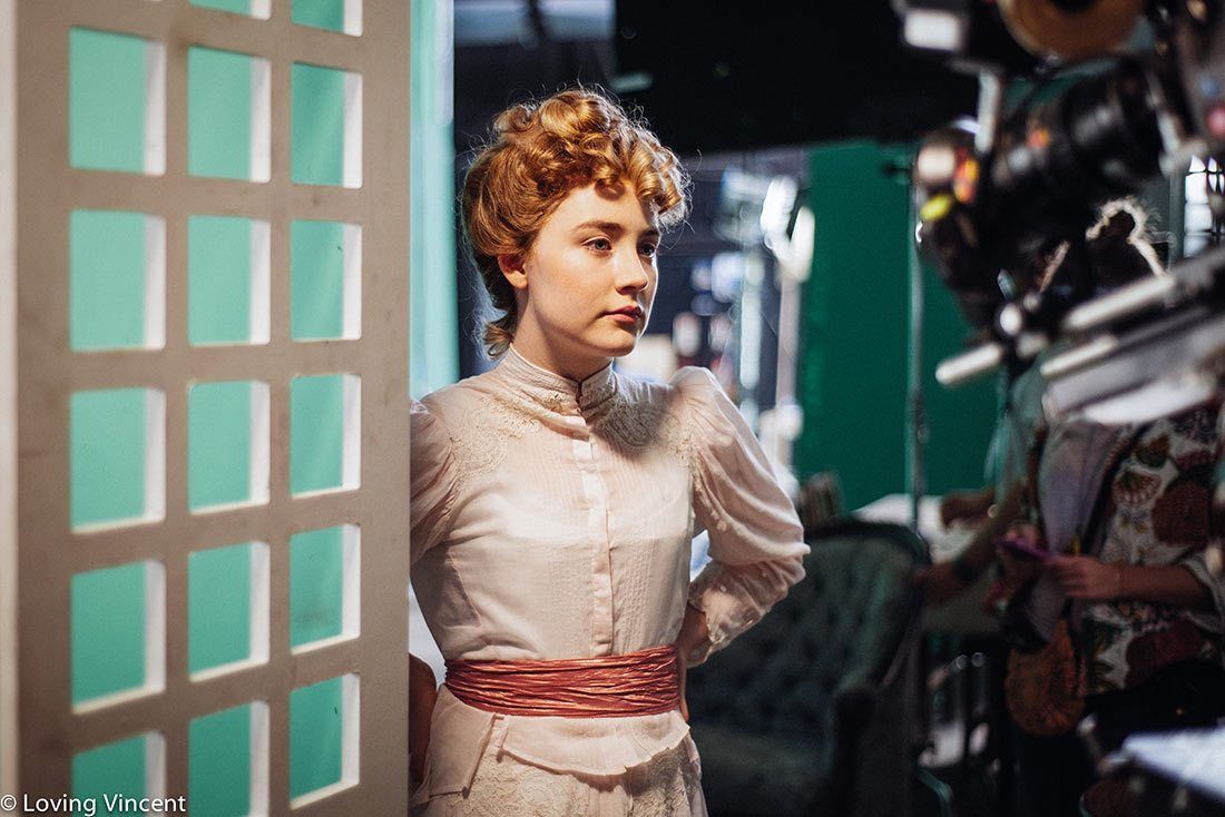 "Actress Saoirse Ronan on the set of ""Loving Vincent."""