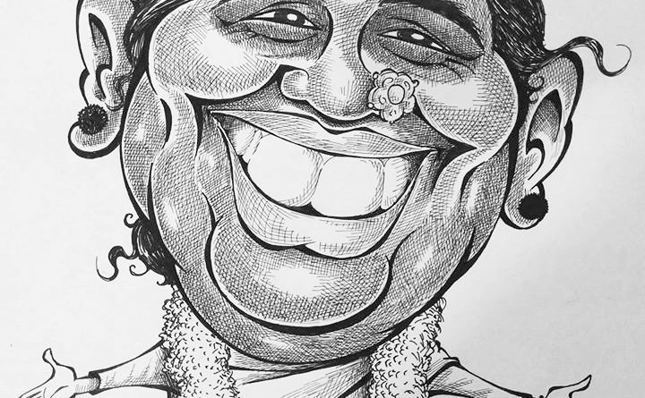 Caricature of Amma.