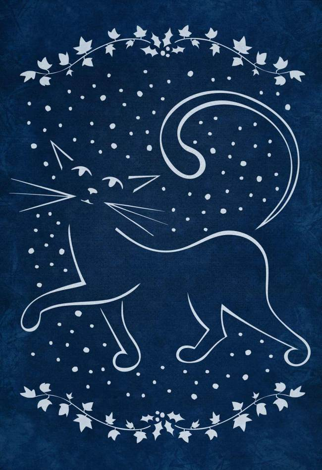 Christmas Cat in Snow