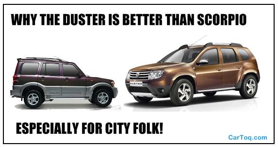 renault duster vs scorpio for the city
