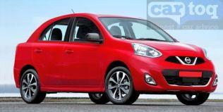 Nissan Micra based compact sedan render red