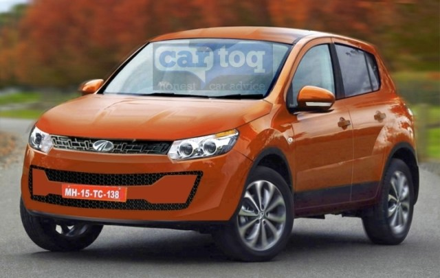2015 Mahindra S101 Compact SUV Speculative Render in Orange Photo