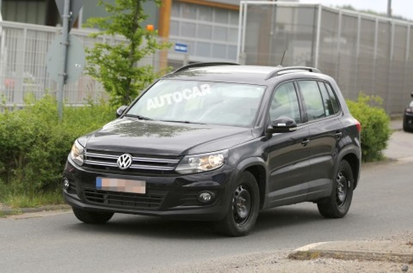 Volkswagen T-ROC Test Mule spotted in Tiguan Bodyshell Pic