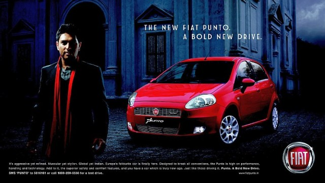 Yuvraj Singh with the Fiat Punto