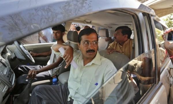 Arvind Kejriwal in a Toyota Innova