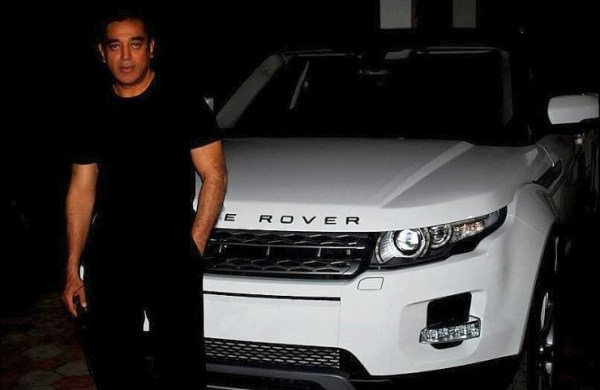 Kamal Hassan with his Range Rover Evoque