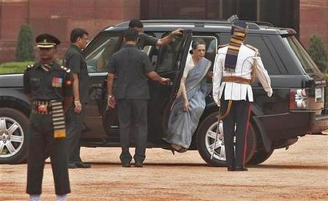 Chief of India's ruling Congress party Gandhi arrives at the forecourt of India's presidential palace in New Delhi