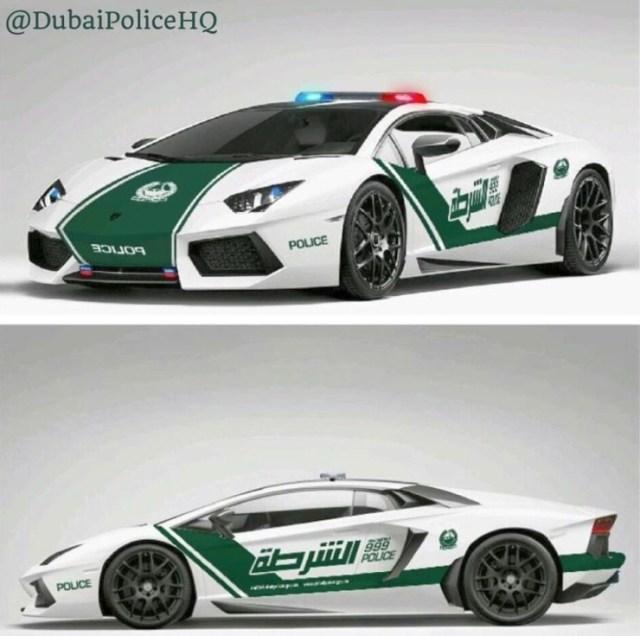 The Lamborghini Aventador of the Dubai Police