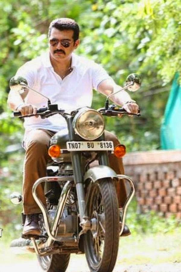 Ajith Kumar on a Bullet 500 in Yennai Arindhal