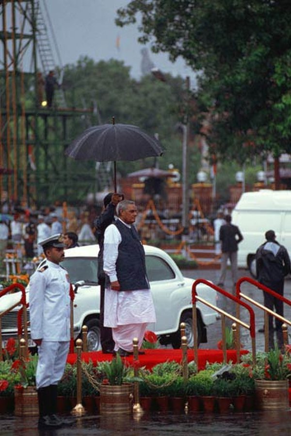 Atal Behari Vajpayee in his Hindustan Ambassador 2