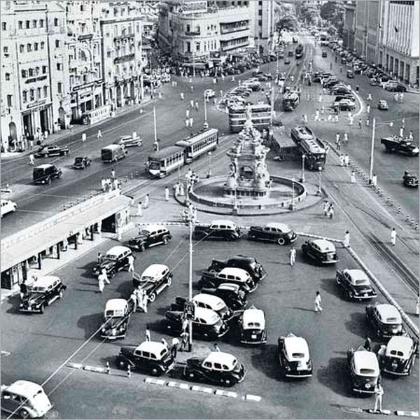 Austin A40 Taxis at Bombay's Flora Fountain