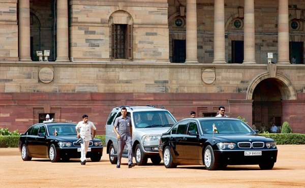 Manmohan Singh in his BMW 1