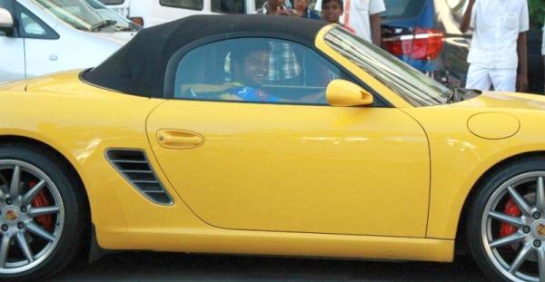 Suresh Raina in his Porsche Boxster