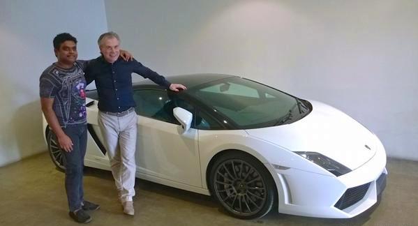 Harris Jayaraj with his Lamborghini Gallardo Bicolore