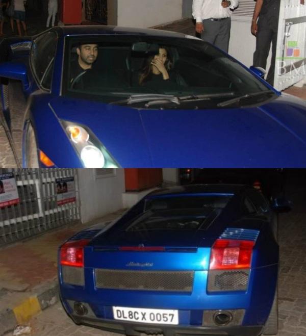 Shilpa Shetty with Raj Kundra in a Lamborghini Gallardo