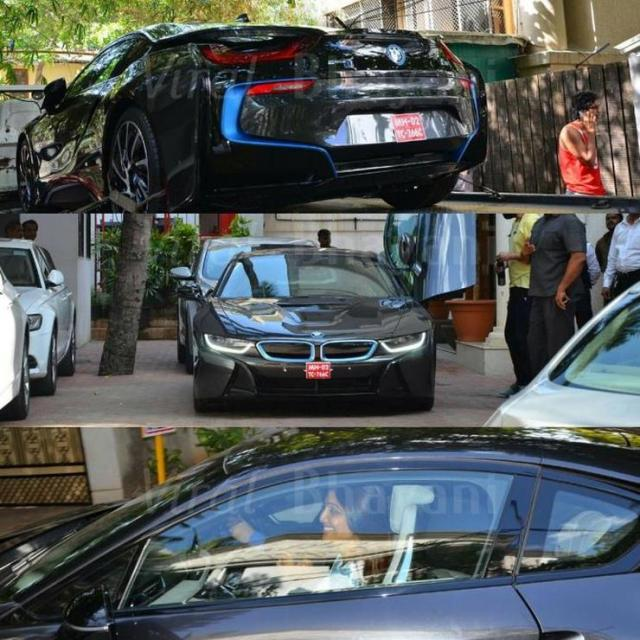 Shilpa Shetty tets driving a BMW i8