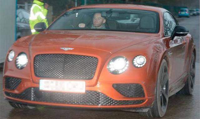 Wayne Rooney in his Bentley