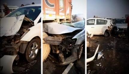 Karnal fog multiple car accident
