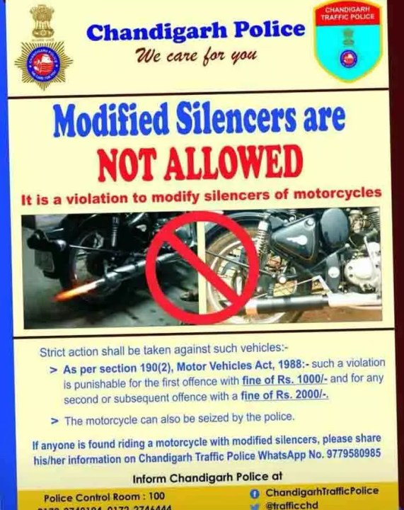 chadigarh traffic police fine for loud exhaust image