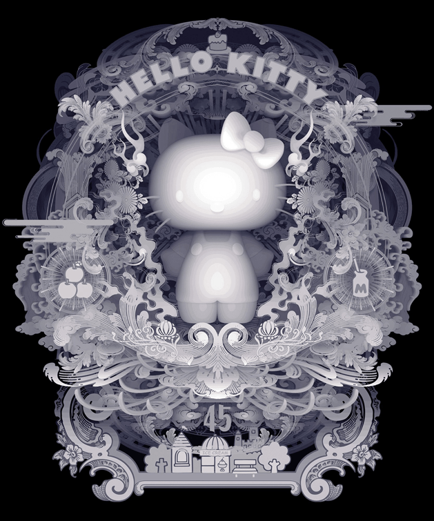 Artwork by Kazuki Takamatsu for the Hello Kitty 45th Anniversary Group Art Show