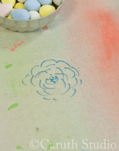 Floral detail on watercolor tablecloth