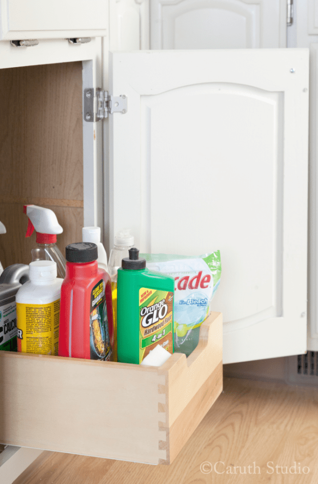 Small kitchen makeover cleaner storage